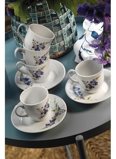 Kütahya Porselen Yasemin 10886 Desen Kahve Fincan Takımı Renkli